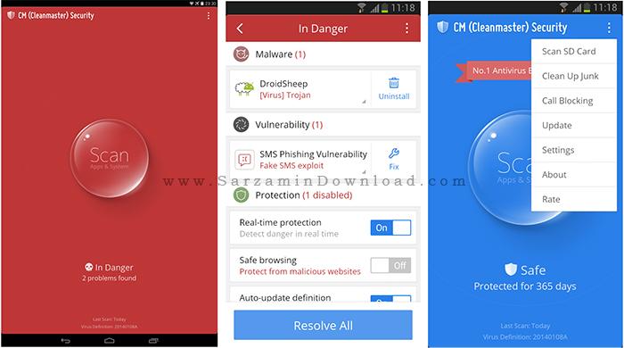 آنتی ویروس (برای اندروید) - CM Security Antivirus 2.10.3 Android