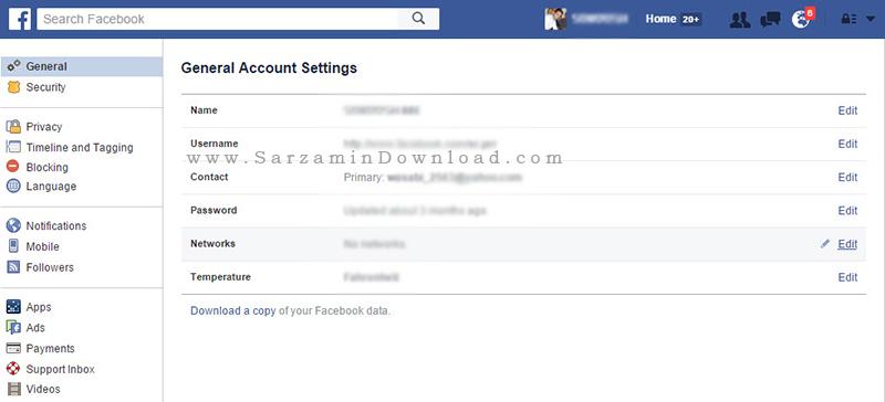 آموزش تغییر نام اکانت فیسبوک