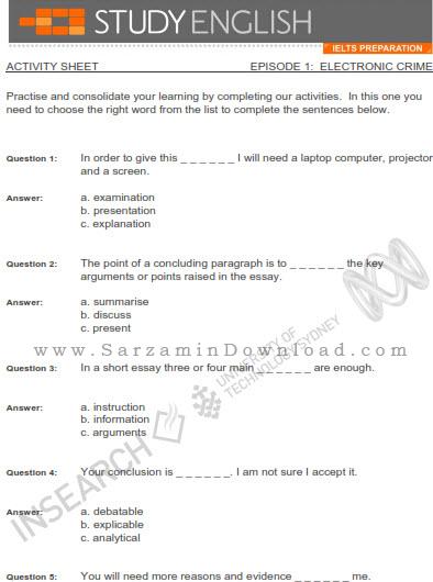 آموزش زبان انگلیسی برای آیلتس (همراه با کتاب الکترونیکی) - Study English IELTS Preparations