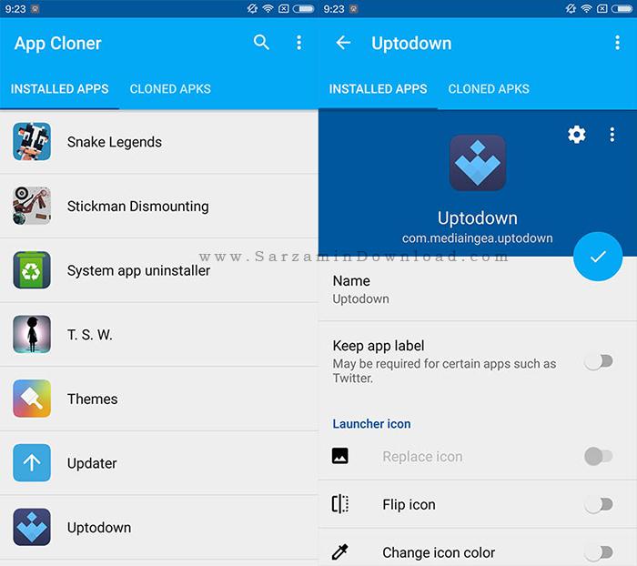 نرم افزار نصب چندباره برنامه ها (برای اندروید) - App Cloner 1.2.15 Android
