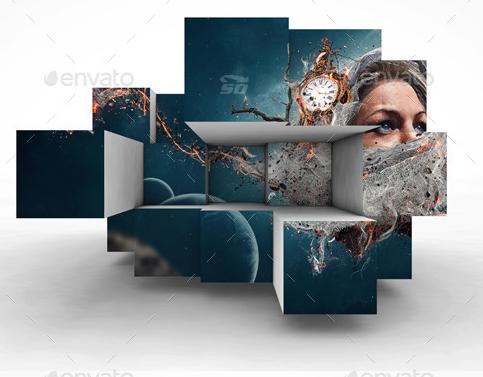 دانلود طرح لایه باز جعبه ای کردن تصویر Graphicriver 3D Photobox Template
