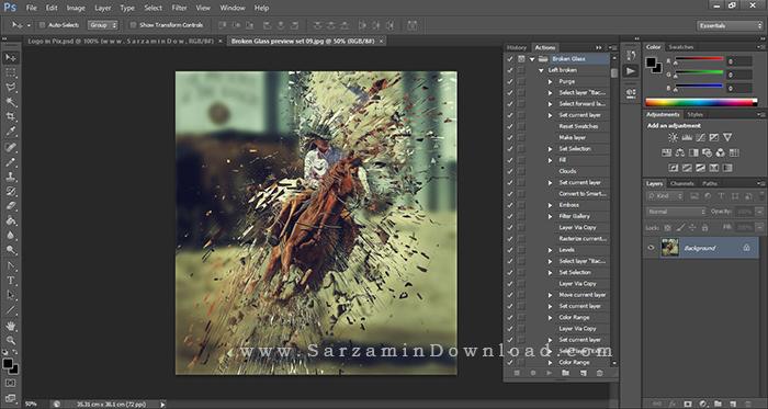 اکشن شکستن عکس (محصول شرکت گرافیک ریور) - Graphicriver Broken Glass Action