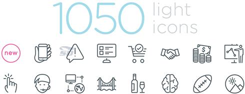 مجموعه 1050 آیکون وکتور موضوعات مختلف - Light Icons Collection