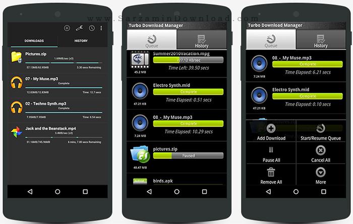 نرم افزار مدیریت دانلود (برای اندروید) - Turbo Download Manager 4.27 Android