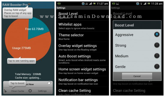 نرم افزار افزایش سرعت موبایل (برای اندروید) - Smart RAM Booster Pro 6.3 Android