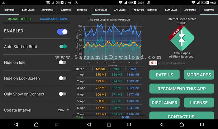 نرم افزار نمایش سرعت اینترنت (برای اندروید) - Internet Speed Meter 2.8.5 Android