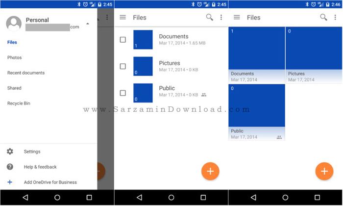 نرم افزار فضای ذخیره سازی آنلاین (برای اندروید) - Microsoft OneDrive 4.2 Android