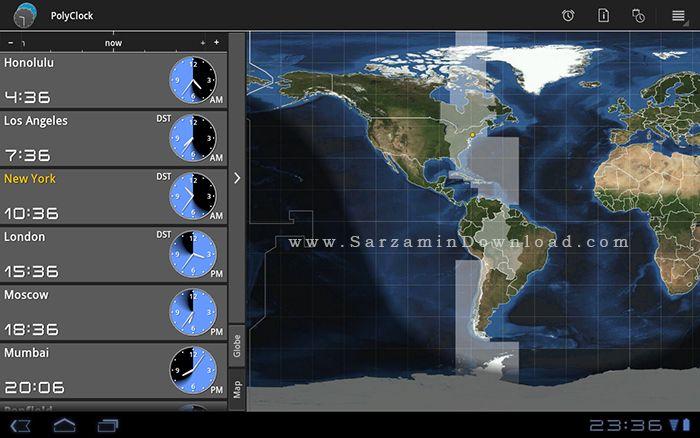 نرم افزار ساعت کشورها (برای اندروید) - PolyClock World Clock 6.6.1 Android