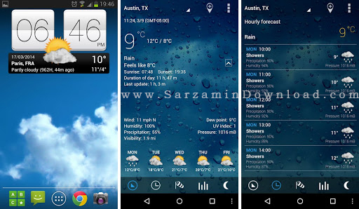نرم افزار هواشناسی (برای اندروید) - Sense Flip Clock and Weather Pro 2.20.02 Android