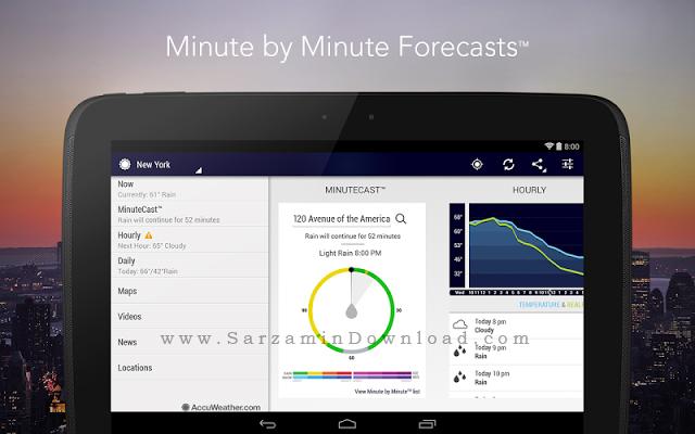 نرم افزار هواشناسی (برای اندروید) - AccuWeather Platinum 4.2.2 Android