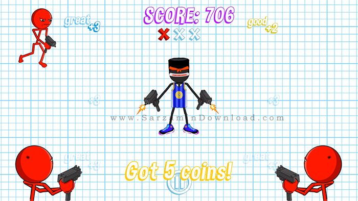بازی جنگی استیکمن (برای اندروید) - Gun Fu Stickman 2 v.1.12.2 Android