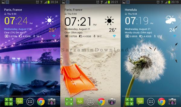 نرم افزار ویجت ساعت (برای اندروید) - Transparent Clock Widget 6.01 Android
