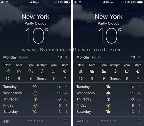 آموزش مشاهده آب و هوا در موبایل آیفون