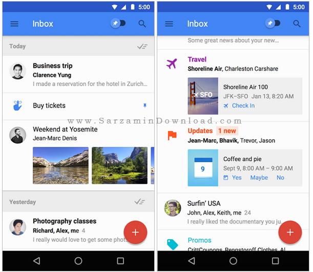 نرم افزار مدیریت ایمیل (برای اندروید) - Inbox 1.26 Android