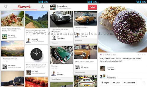 نرم افزار پینترست (برای اندروید) - Pinterest 5.18 Android