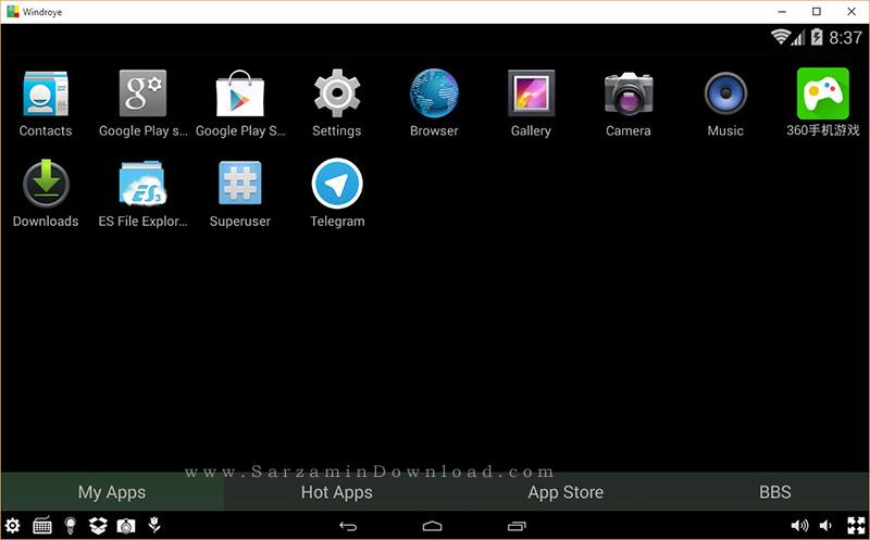 نرم افزار اجرای برنامه های اندروید در کامپیوتر - Windroye 2.8.2