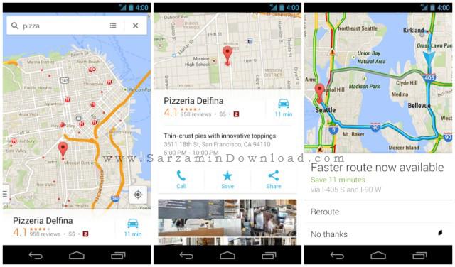 نرم افزار نقشه گوگل (برای اندروید) - Google Maps 9.43 Android