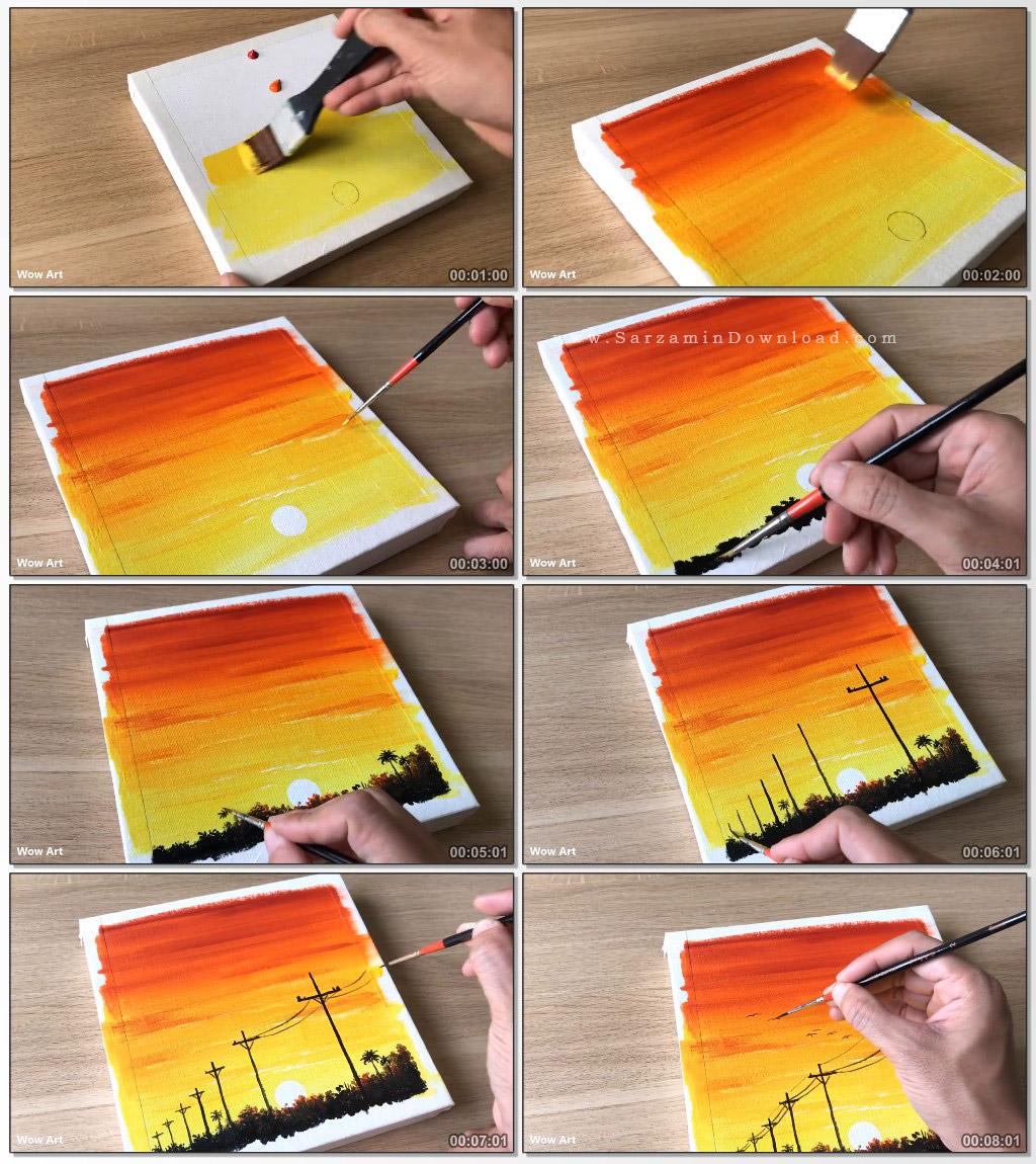 آموزش کشیدن طلوع خورشید با رنگ روغن به صورت خلاقانه (فیلم آموزشی)