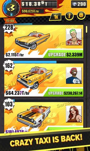 بازی راننده تاکسی دیوانه (برای اندروید) - Crazy Taxi Gazillionaire 14104 Android
