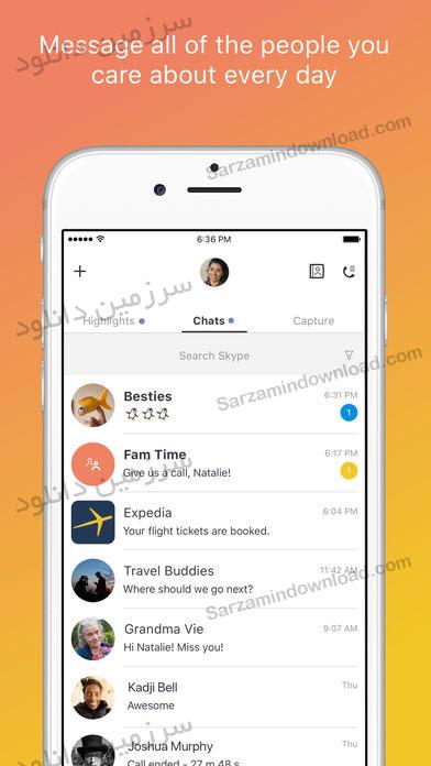 نرم افزار اسکایپ (برای آیفون) - Skype 8.7.59578 iOS