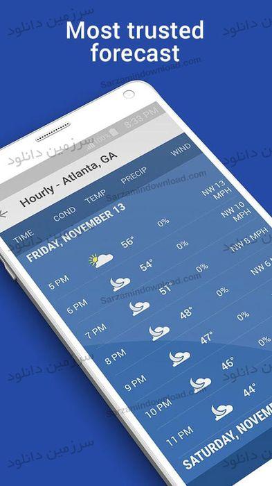 نرم افزار پیش بینی دقیق آب و هوا (برای اندروید) - The Weather Channel 8.3.0 Android