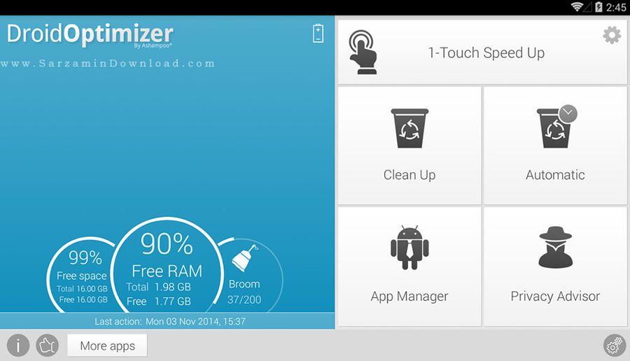 نرم افزار افزایش سرعت گوشی (برای اندروید) - Ashampoo Droid Optimizer 1.1 Android