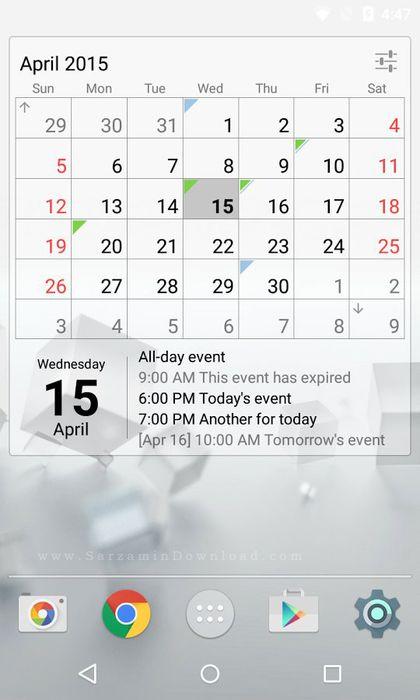 نرم افزار ویجت تقویم حرفه ای موبایل (برای اندروید) - Calendar Widget Month Agenda 1.18 Android