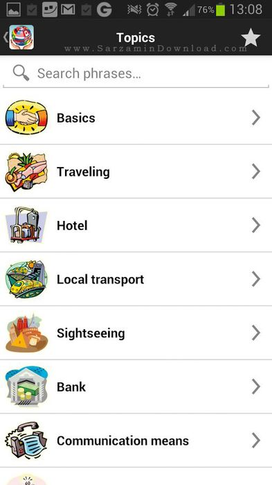 نرم افزار مترجم موبایل (برای اندروید) - Travel Interpreter 2.6.7 Android