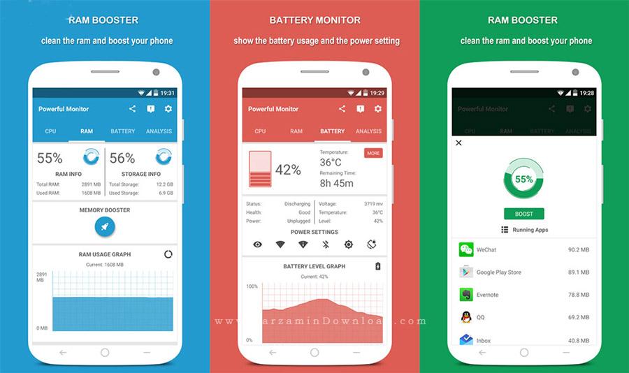 نرم افزار کنترل سخت افزار گوشی (برای اندروید) - Powerful System Monitor 5.7.0 Android