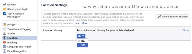 آموزش مشاهده و حذف تاریخچه موقعیت مکانی در فیسبوک