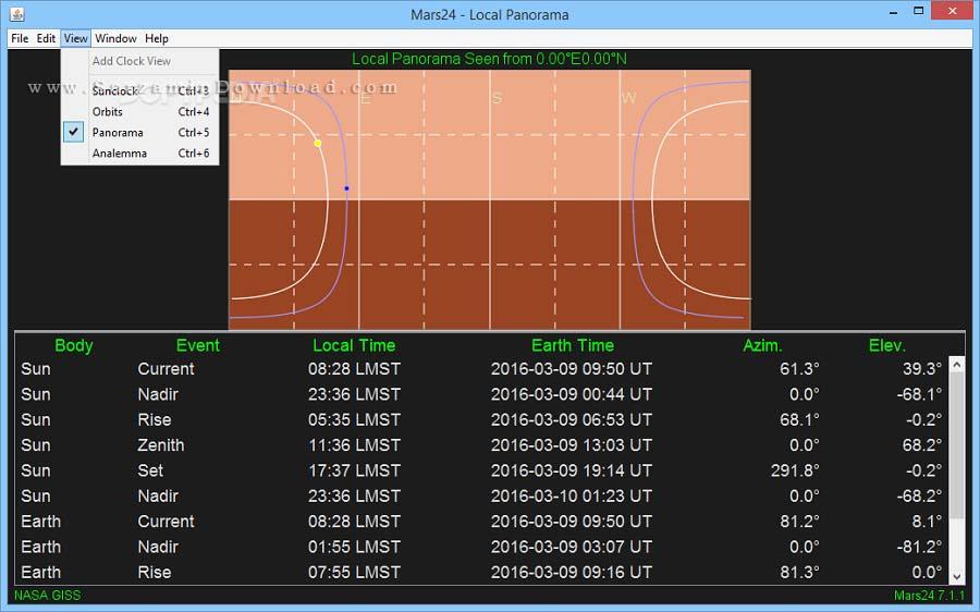 نرم افزار مشاهده زمان در مریخ (برای ویندوز) - Mars24 7.1.3 Windows
