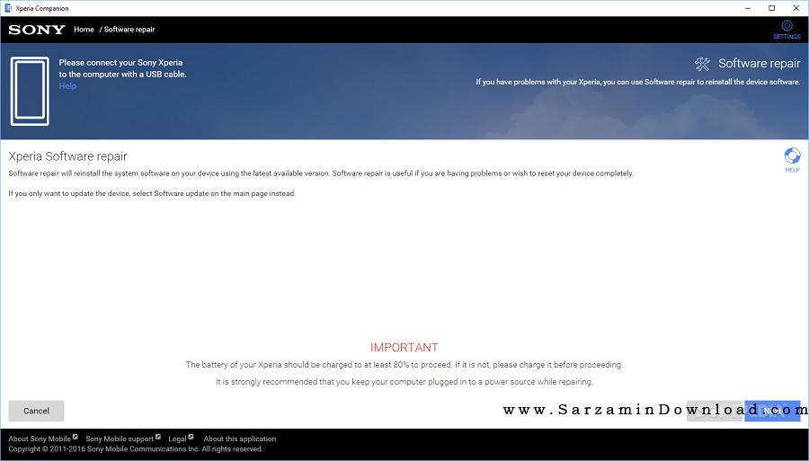 نرم افزار مدیریت و اتصال گوشیهای سونی اکسپریا به کامپیوتر (برای ویندوز) - Xperia Companion 1.7.2.0 Windows