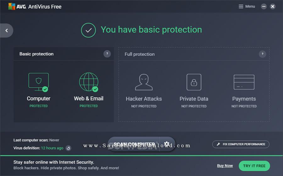 آنتی ویروس ای وی جی، نسخه رایگان (برای ویندوز) - AVG Antivirus Free 17.7.3032 Windows