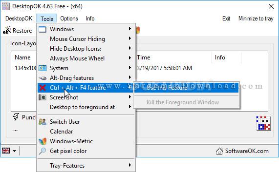 نرم افزار ذخیره و بازیابی وضعیت آیکون های دسکتاپ (برای ویندوز) - DesktopOK 4.89 Windows