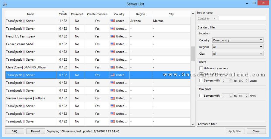 نرم افزار ارتباط گروهی در اینترنت (تیم اسپیک) - TeamSpeak Client 3.1.7