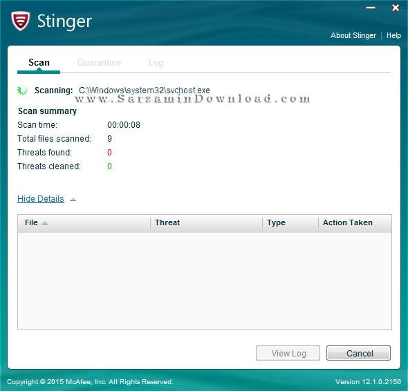 آنتی ویروس رایگان مکافی برای مواقع اورژانسی (برای ویندوز) - McAfee Stinger 12.1.0.2610 Windows