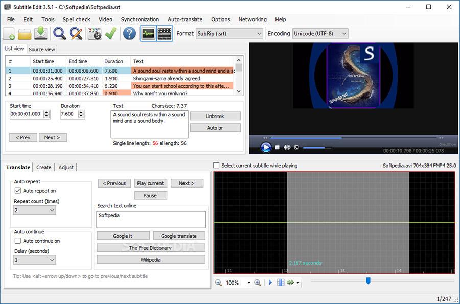 نرم افزار ویرایش زیرنویس (برای ویندوز) - Subtitle Edit 3.5.16 Windows