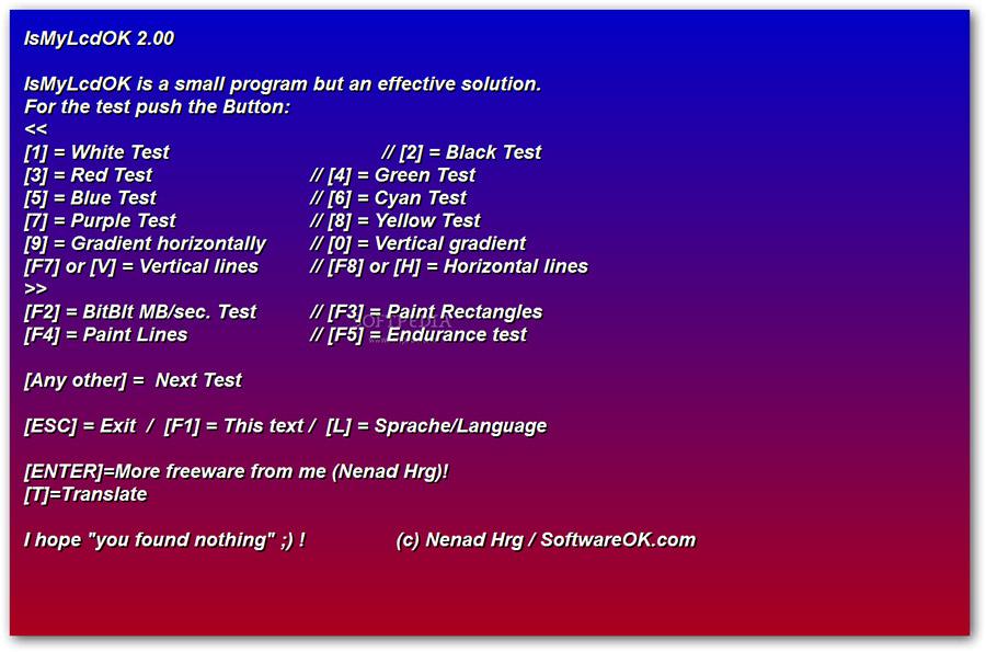 نرم افزار بررسی پیکسل های سوخته مانیتور (برای ویندوز) - IsMyLcdOK 4.22 Windows