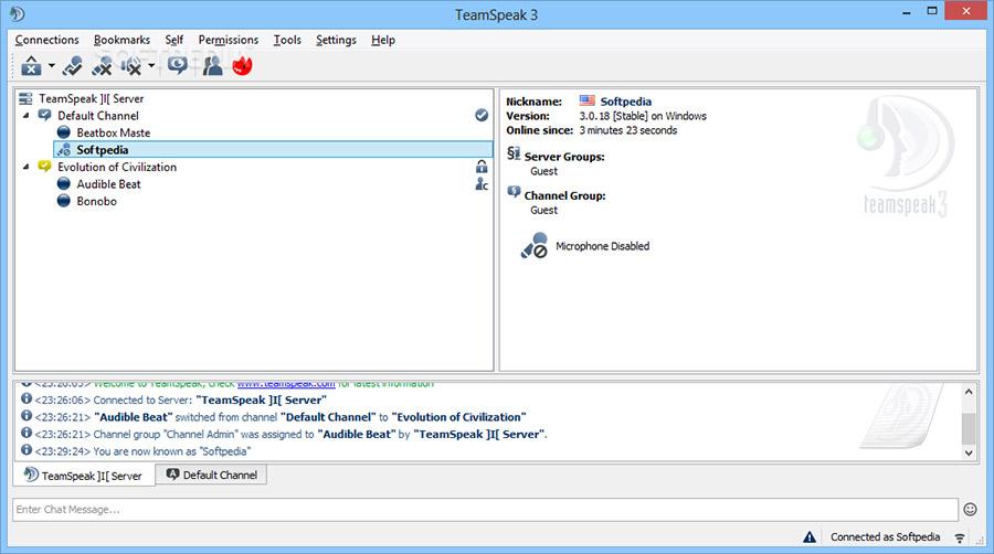 نرم افزار ارتباط گروهی در اینترنت (تیم اسپیک) - TeamSpeak Client 3.5.5 Windows
