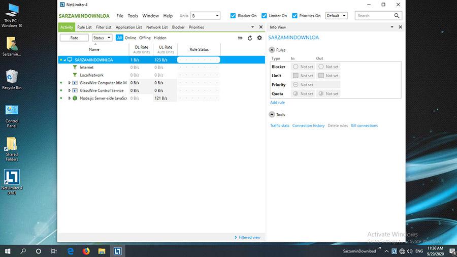 نرم افزار کنترل مصرف اینترنت (برای ویندوز) - NetLimiter ProEnterprise 4.1.3.0 Windows
