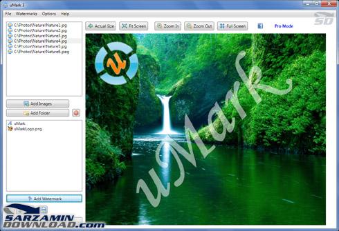 دانلود نرم افزار درج کپی رایت (واترمارک) روی عکس ها به صورت گروهی ...توسط نرم افزار uMark میتوانید متن، عکس، لوگو، یا هر طرح دلخواهی را روی مجموعه ای از عکس ها واترمارک کنید. این نرم افزار امکان تنظیم رنگ و میزان شفافیت ...