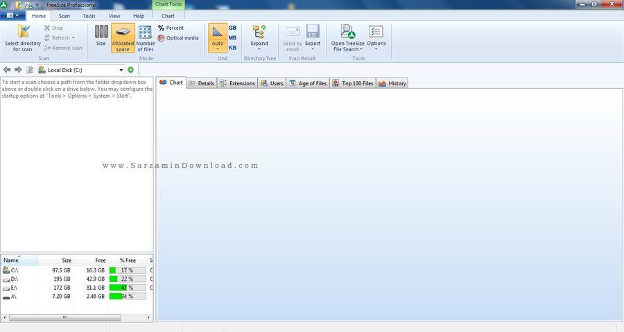 نرم افزار بهینه سازی فضای هارد دیسک - TreeSize Professional