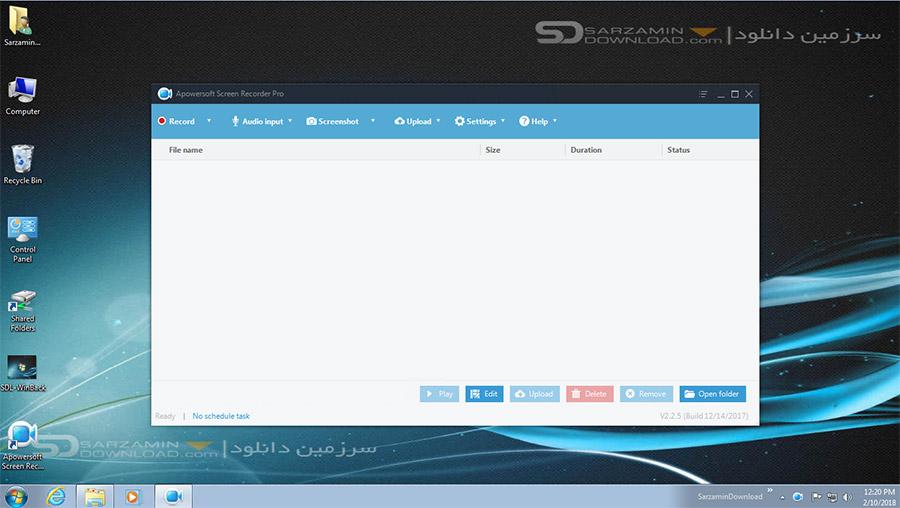 نرم افزار فیلمبرداری از صفحه دسکتاپ (برای ویندوز) - Apowersoft Screen Recorder Pro 2.2.5 Windows