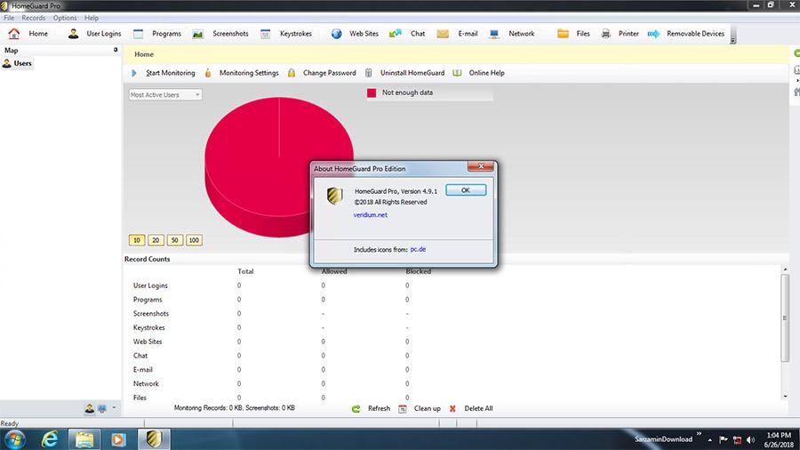 نرم افزار کنترل فعالیت های انجام شده با کامپیوتر و اینترنت (برای ویندوز) - HomeGuard Pro 4.9.1 Windows