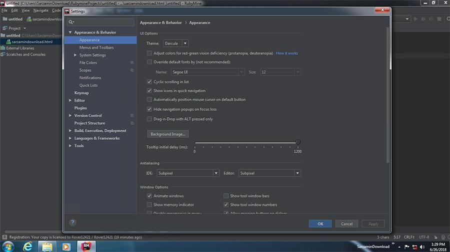 نرم افزار برنامه نویسی روبی (برای ویندوز) - JetBrains RubyMine 2018.1.3 Windows