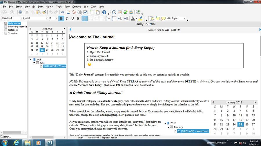 نرم افزار دفترچه خاطرات (برای ویندوز) - The Journal 8.0.0.1247 Windows