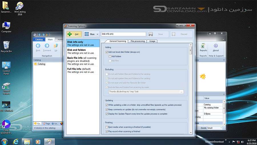 نرم افزار تهیه لیست فایل ها، پوشه ها، و اطلاعات کامپیوتری (برای ویندوز) - WinCatalog 18.1.2.615 Windows