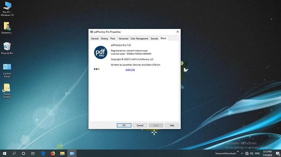 نرم افزار تبدیل اسناد به پی دی اف (برای ویندوز) - pdfFactory Pro 7.43 Windows