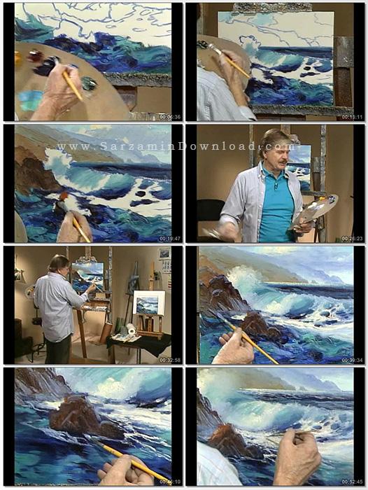آموزش نقاشی دریا با رنگ روغن (فیلم آموزشی) - Oil Painting Painting the Sea in Oils