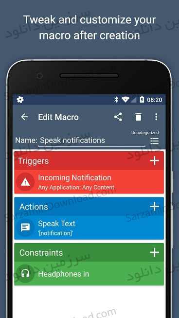 نرم افزار انجام خودکار کارها (برای اندروید) - MacroDroid Pro 3.28.4 Android